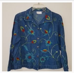 VTG Studio Works Embroidered Flower Denim Jacket